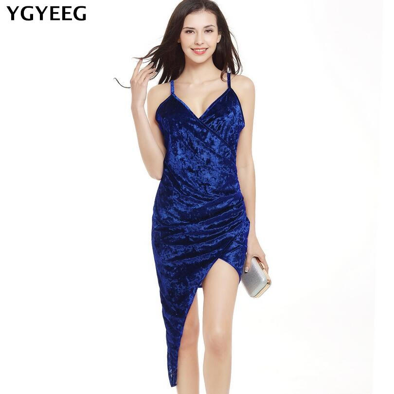 YGYEEG Velvet <font><b>Bodycon</b></font> <font><b>Dress</b></font> <font><b>2018</b></font> <font><b>Sexy</b></font> Womens Backless <font><b>Dresses</b></font> Party <font><b>Night</b></font> <font><b>Club</b></font> <font><b>Dress</b></font> High Low Ruched Wrap Dresse Women Summer image