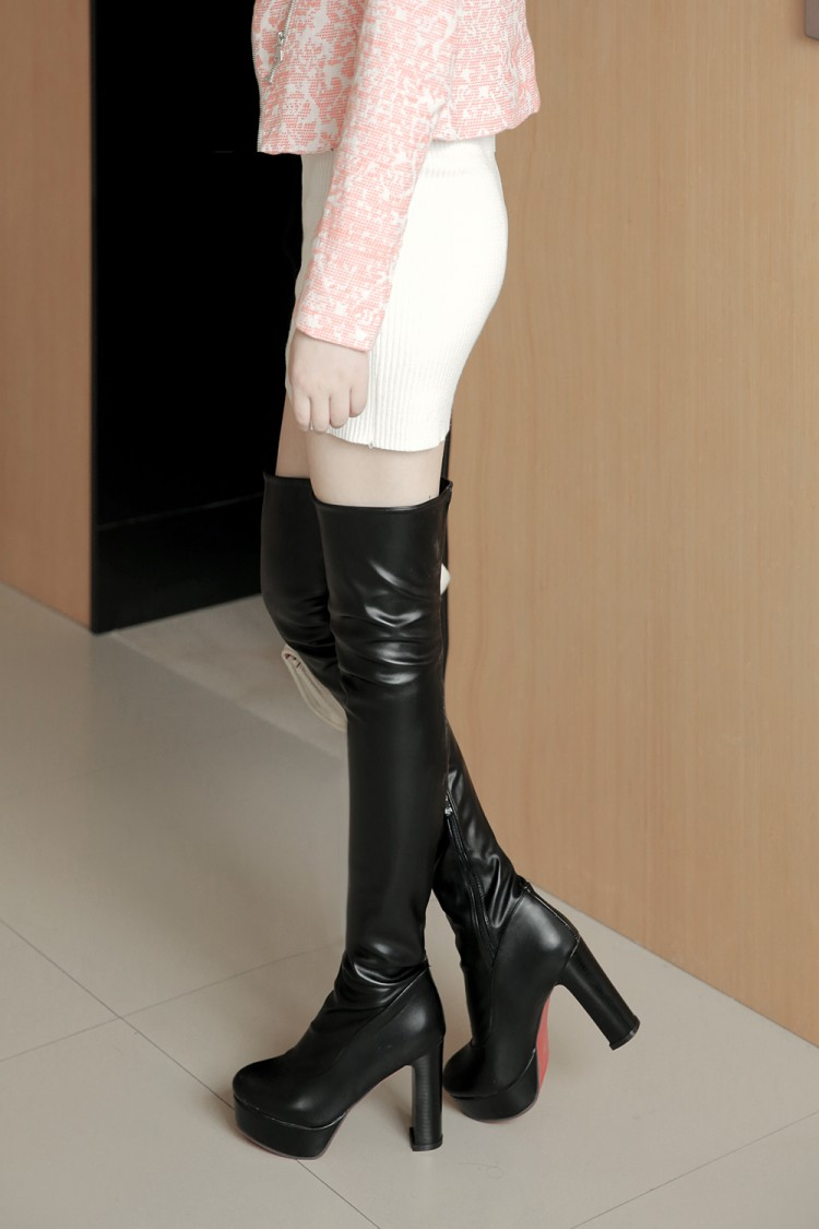 De Fino Tacón Mujer Redonda blanco Elegantes Sexy Ocio Zapatos Invierno 2017 Cuero Nuevo Negro 8093 Punta Alto Botas Tacones A1xEw6