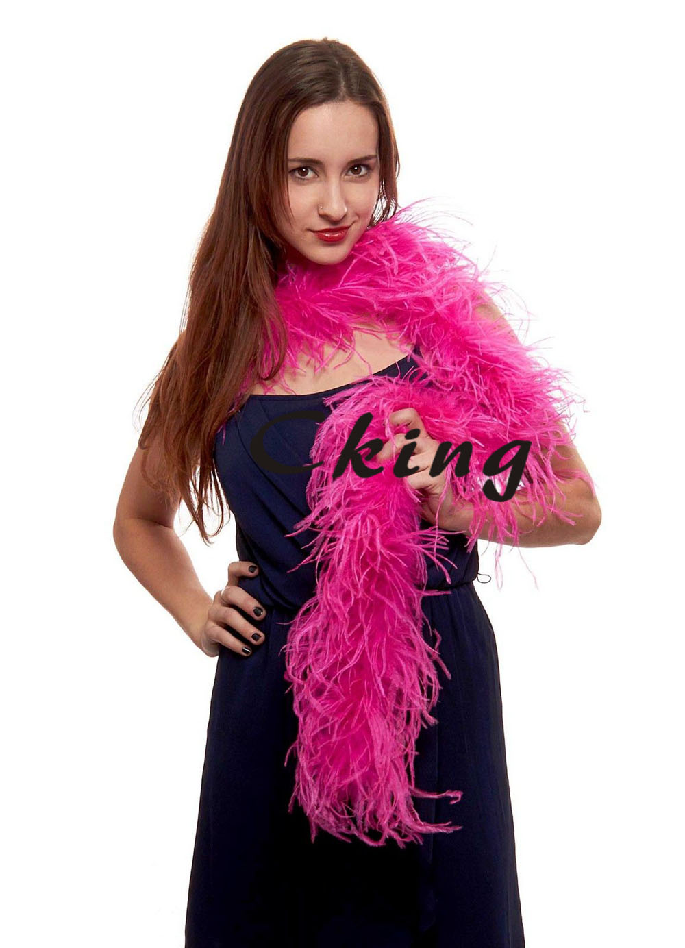 3ply ostrich feather boas hot pink colour dyed 10pcs/lot 2 meter long per pc 11 colors available