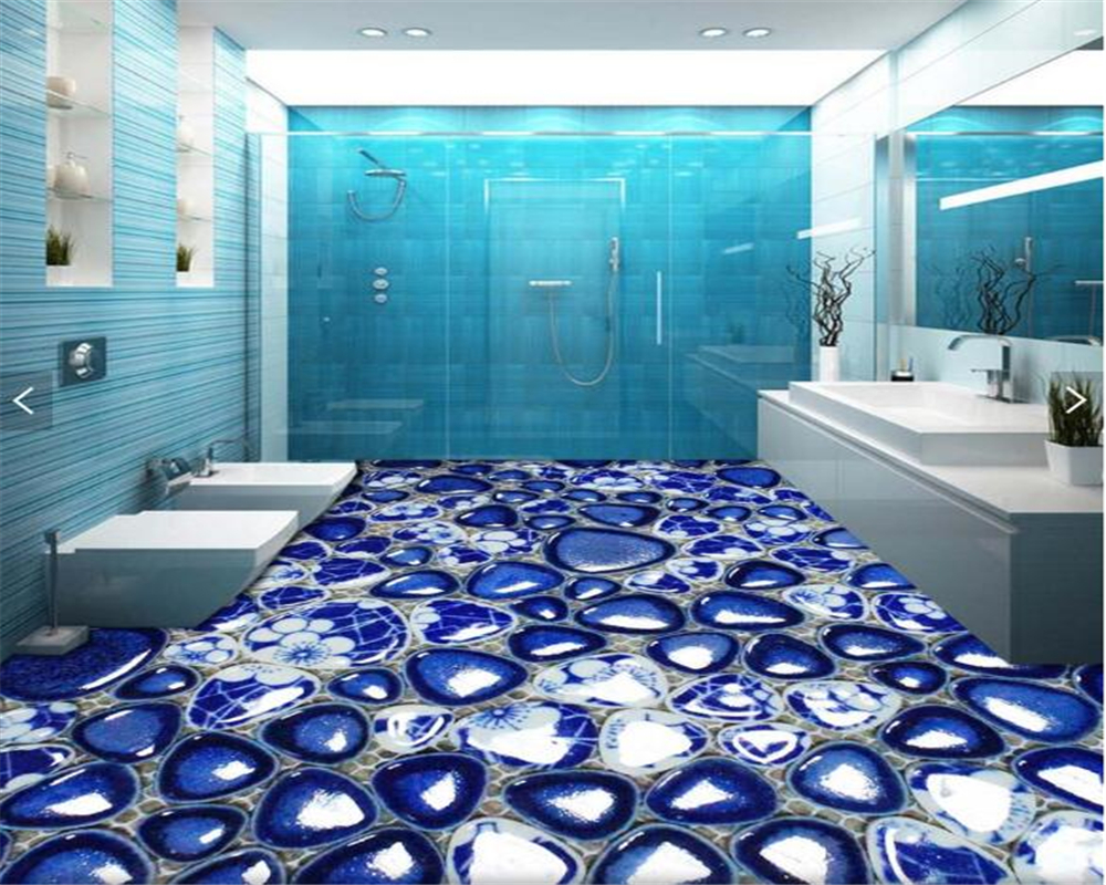 beibehang Custom 3D Cobblestone Bathroom Floor Tile Wall Sticker 3d ...