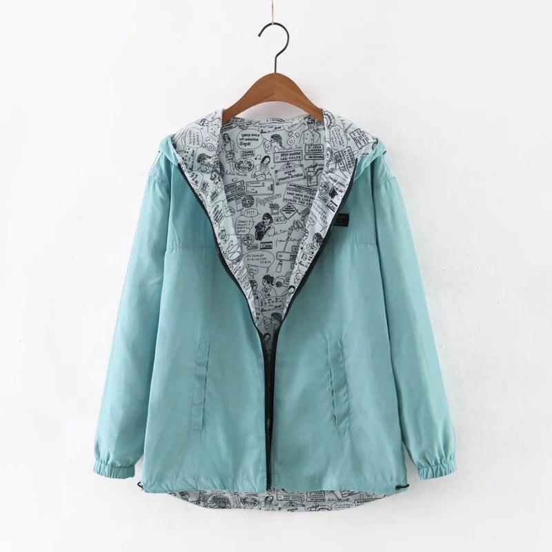 2018 Autumn Women Bomber   Basic     Jacket   Pocket Zipper Hooded Two Side Wear Cartoon Print Outwear Loose Coat Reversible   Jacket