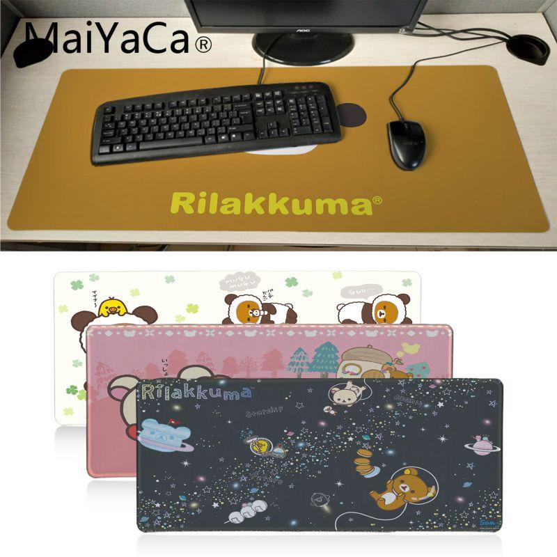 Maiyaca Hot Sales Cute Rilakkuma Anti-Slip Durable Computermats Large Lockedge Gaming Mouse Pad PC Computer Mat Muismat Gaming