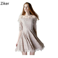 New Fashion Autumn And Winter Lace Women Dresses For Evening Party Slash Neck Half Sleeve Casual