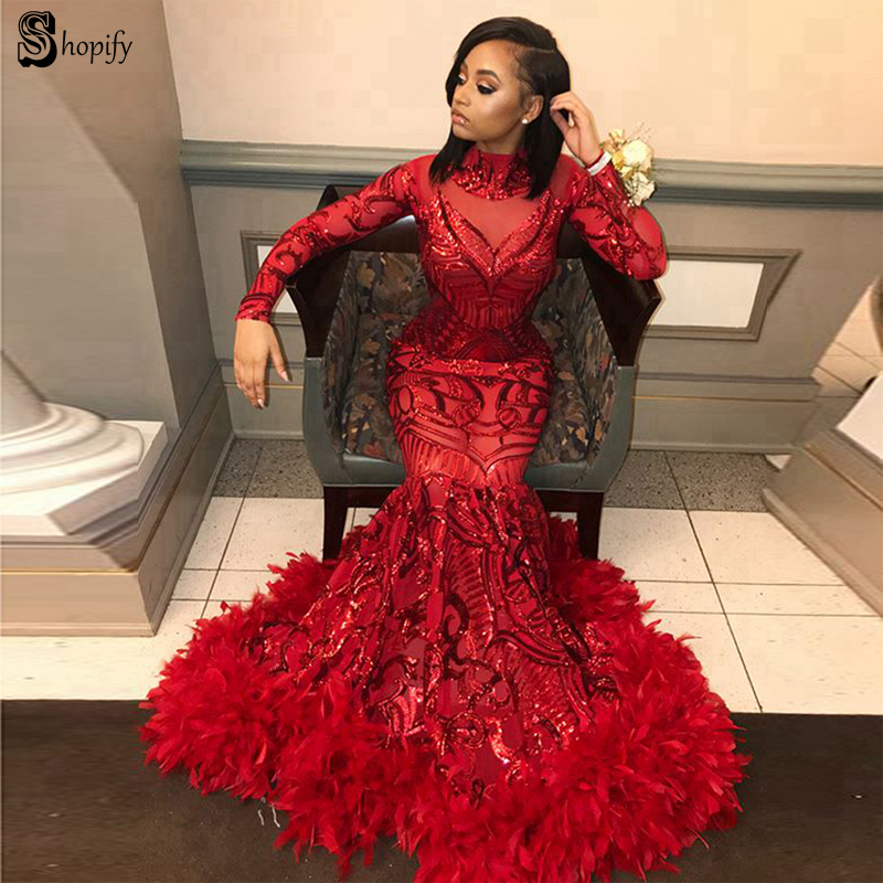 Gorgeous Mermaid O-neck Long Sleeve African Black Girl Sparkly Red Sequin Mermaid Feather Long Prom Dresses 2019