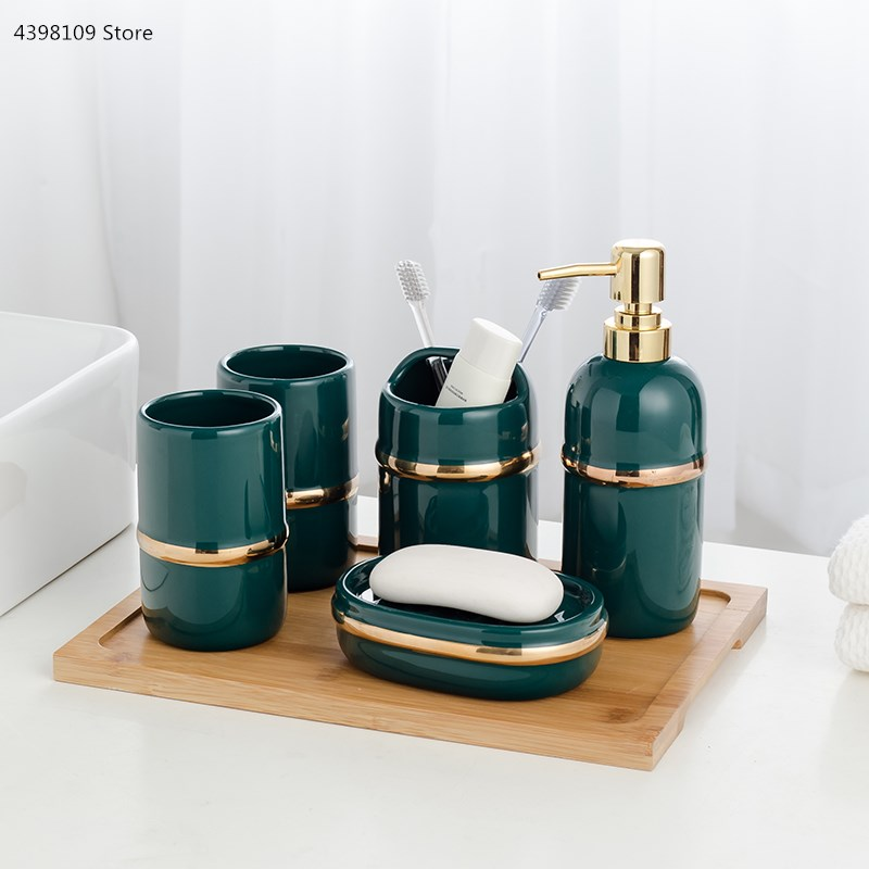 Bathroom wash set bathroom five-piece tooth set suit bathroom accessories soap dispenser toothbrush holder bathroom supplies image