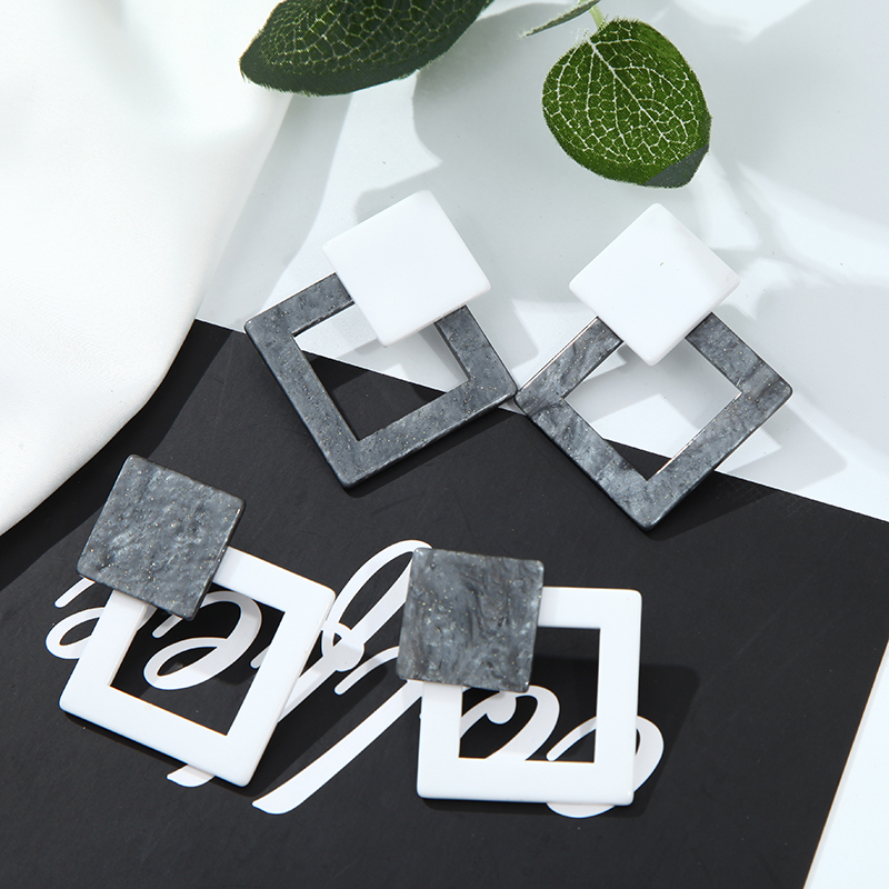2019 New Acetate Earrings Bohemian Geometric Acrylic Pendant Fashion Ladies Temperament Charm Jewelry