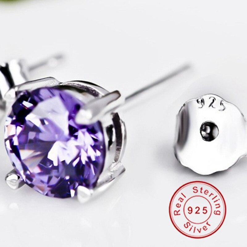 BeBe Kitty nouveau 4 griffes 925 argent Sterling 6 MM violet clair pierre boucles d'oreilles Simple haute qualité Fine cristal femmes boucle d'oreille