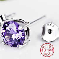 BeBe Kitty New 4 Claws 925 Sterling Silver 6MM Purple Clear Stone Stud Earrings Simple High Quality Fine Crystal Women Earring