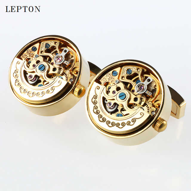 Low key Luxury Functional Watch Movement Cufflinks Lepton Stainless Steel Steampunk Gear Watch Mechanism Cufflinks for Mens