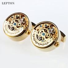 Роскошные функциональные часы с низким ключом, запонки leton нержавеющая сталь, стимпанк механизм запонки для мужских часов