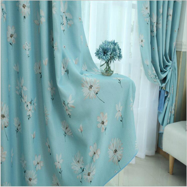 Charmant Korea Stylish Coffee/blue Small Daisy Printed Shade Cloth Curtains For Living  Room,Flowers
