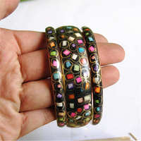 BB 459 Indian Colorful Bohemian Fashion Bangle Brass Inlaid Colorful Bone Clips Close Bangle 3 Pieces