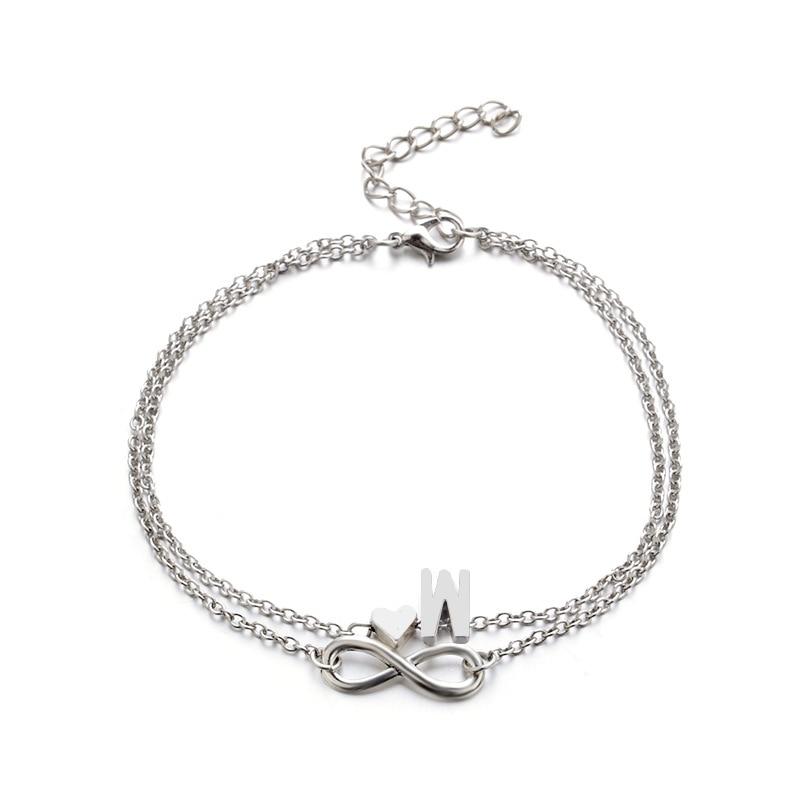 Donarsei A-Z Boho Double Layers Infinite Letter Anklet For Women Beach Silver Color Heart Ankle Bracelet Alphaet Foot Bracelet 4