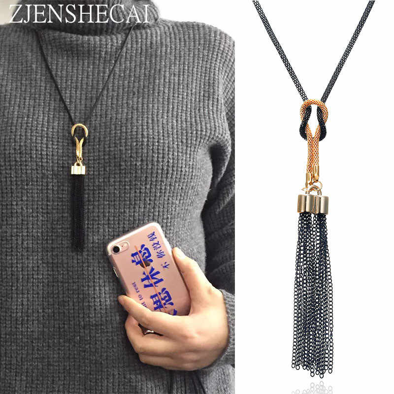 Black color Women Necklaces Exquisite All Match Chain Tassel Sweater Long Chain Necklace Delicate jewelry gift girl
