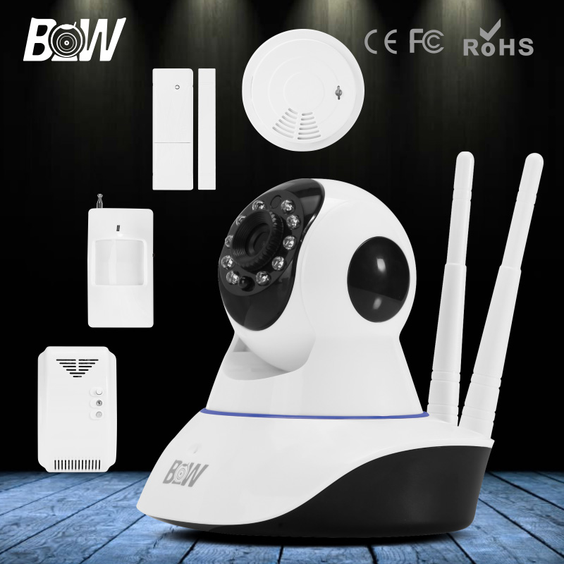 720P HD CCTV Wifi Camera Wireless IP Burglar Safe Security Camera Infrared Motion & Door Sensor + Gas & Smoke Detector GSM Alarm 720p hd ip camera security door sensor infrared motion sensor smoke gas detector wifi camera monitor equipment alarm bw13b