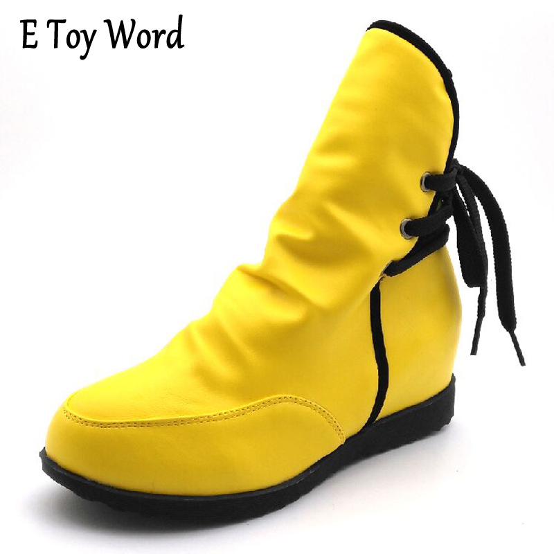 E TOY WORD Women Boots Autumn Winter Warm 2017 New Sexy Fashion Pu Lace-Up Ankle Boots Waterproof Non-slip Martin boots women e toy word boots women fashion autumn martin boots warm women shoes ankle boots for women winter botas mujer wedges ankle boots