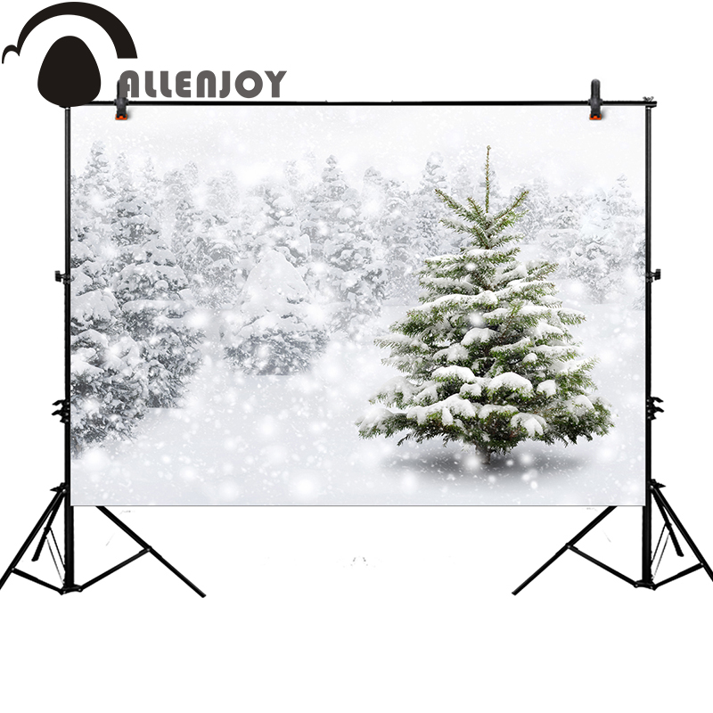 Allenjoy background photography winter snow tree white bokeh Christmas backdrop photocall customize original design