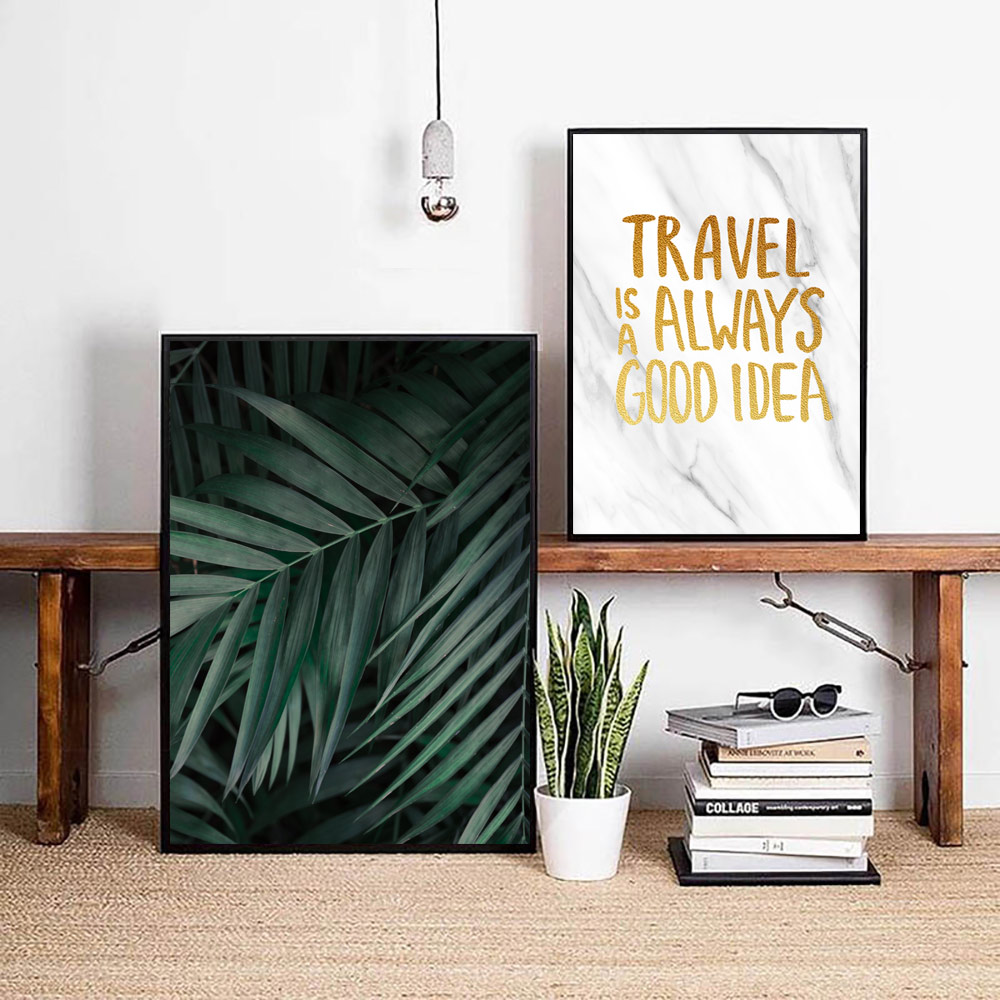 Image 2 - Green Plants Poster Leaves Canvas Painting Nordic Posters and Prints Quotes Wall Bedroom Pictures Wall Art Print Leaf Unframed-in Painting & Calligraphy from Home & Garden