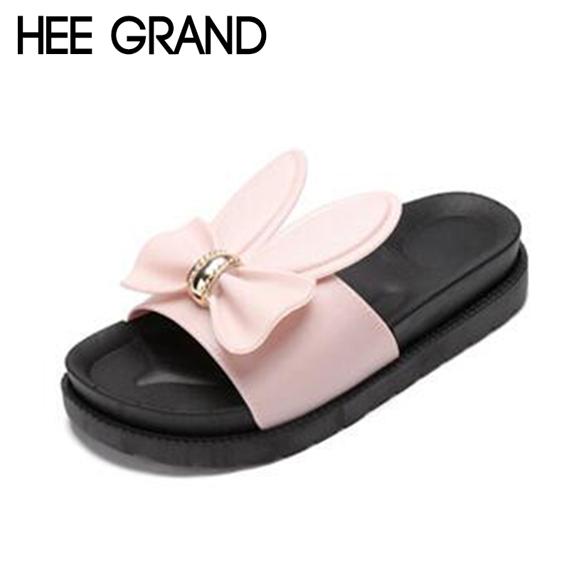 HEE GRAND 2018 Women New Slippers Bowtie Decoration Flats with Platform Slide Peep-toe Mujer Causal Slide XWT1137