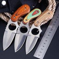 Faca reta pequena portátil exterior  faca reta de madeira da multi-função da sobrevivência do campo do punho da cor faca de caça edc