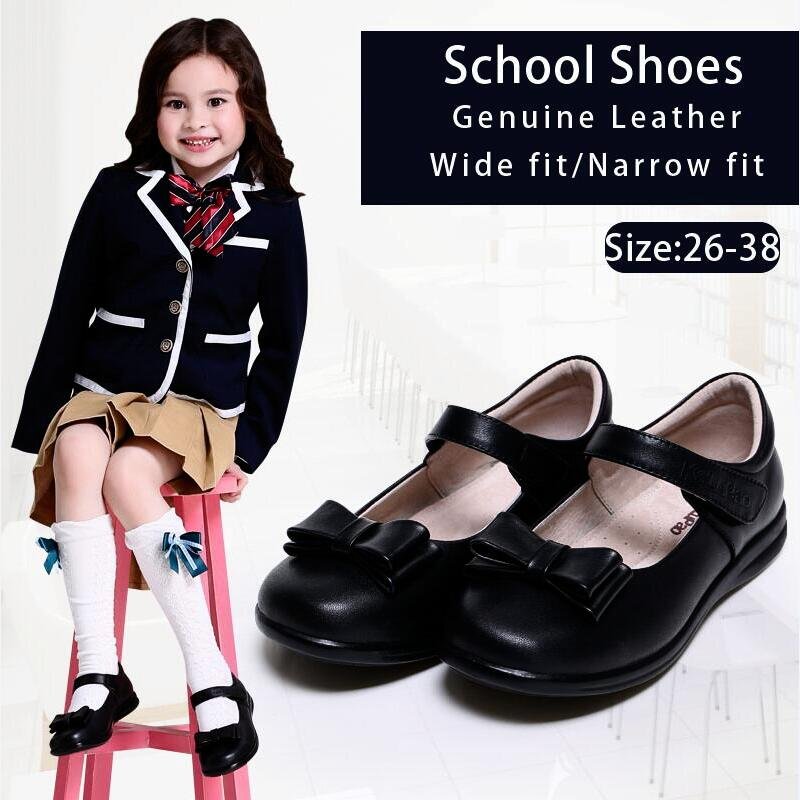 Kalupao Girls Shoes Bows 100% Genuine Leather School Uniforms Shoes Fashion Dress Girls Shoes Flats 2018 girls dress 100
