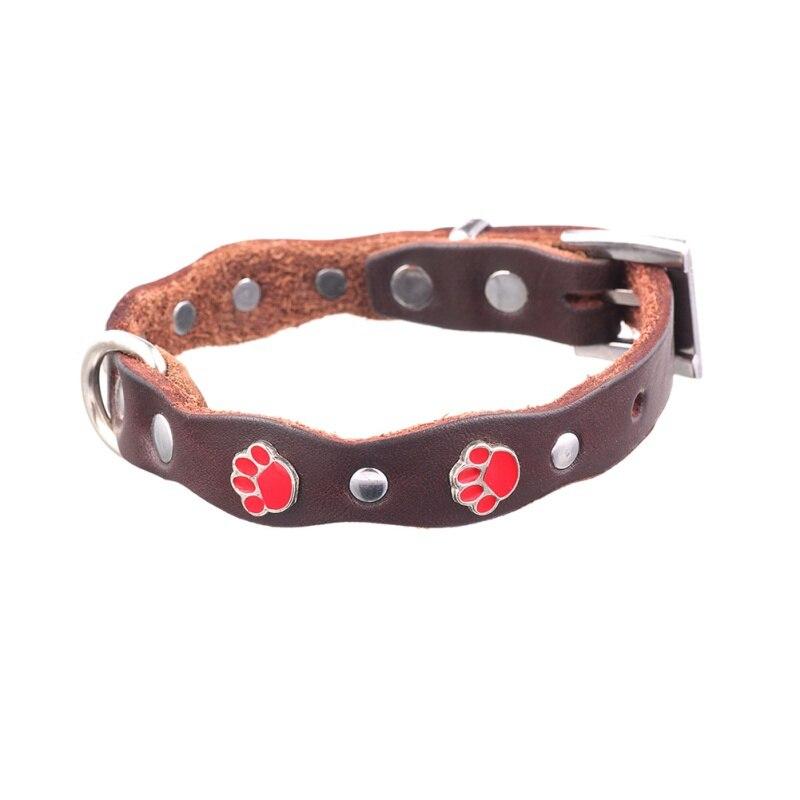 High-Grade Leather Dog Collar Small Medium-Sized Dog Red Footprint Collar Hot Sale Cat Dog Handmade Fashion Pet Necklace