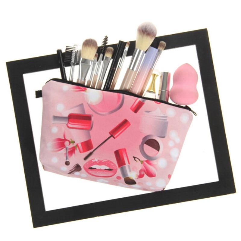1 Pc Frauen Kosmetische 3d Druck Make-up Taschen Wasserdicht Make-up Organizer Lagerung Fall Schöne Weibliche Reise Telefon Bleistift Münze Taschen üBerlegene Leistung