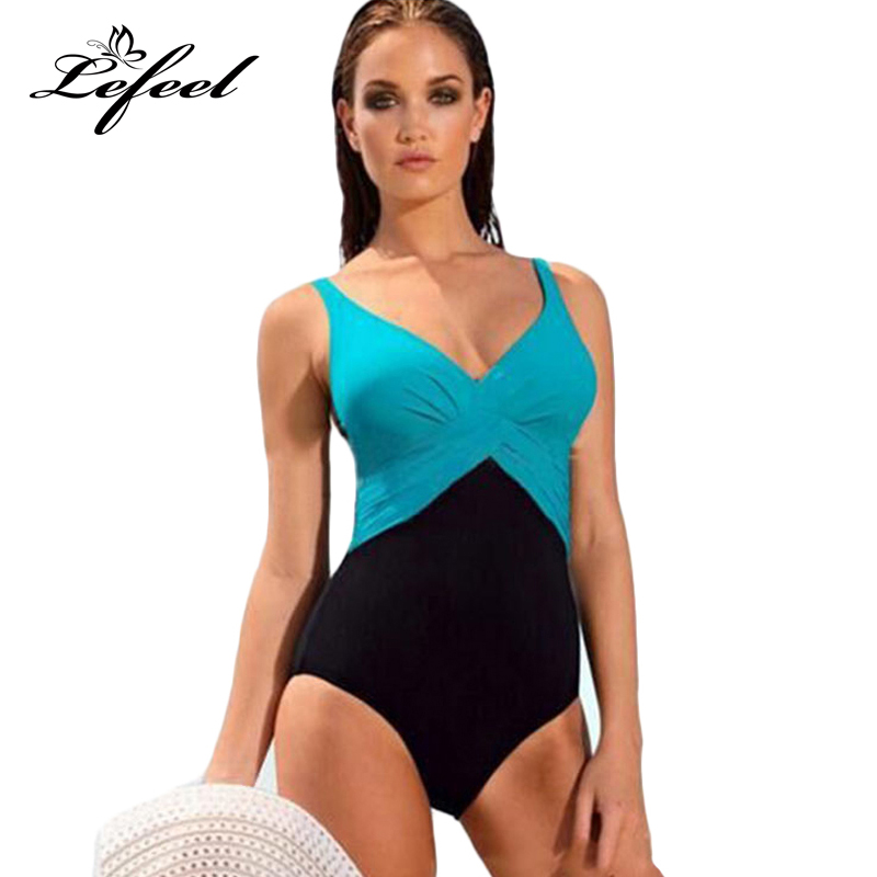 Lefeel 2018 Sexy One Piece Swimsuit Solid Swimwear Patchwork Bikini Plus Size Bathing Suit Women Biquini Beach Wear M-4XL B479 2017 monokini bikini striped one piece suits high waist swimsuit sexy bathing suit girls swimwear plus size bikini set biquini