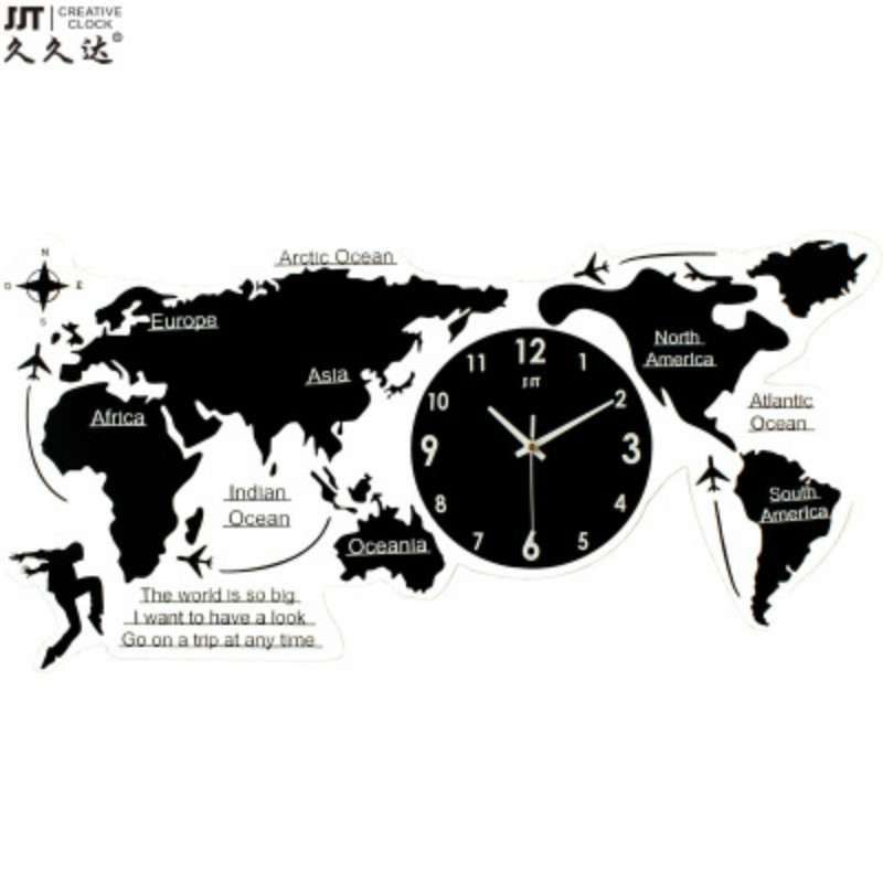 European world map wall Silent Clock on The Wall Nordic Simple Acrylic 3D Creative World Map for Living Room