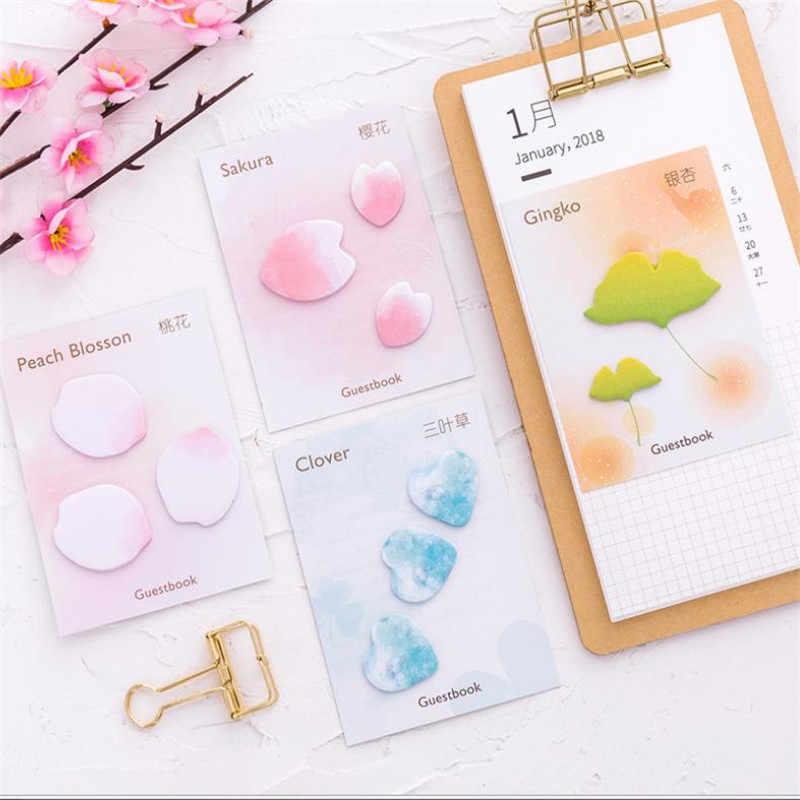 1 pièces blocs-Notes de couleur pétales feuilles signets créatifs quotidien Notes autocollantes fournitures de papeterie scolaires autocollants en papier