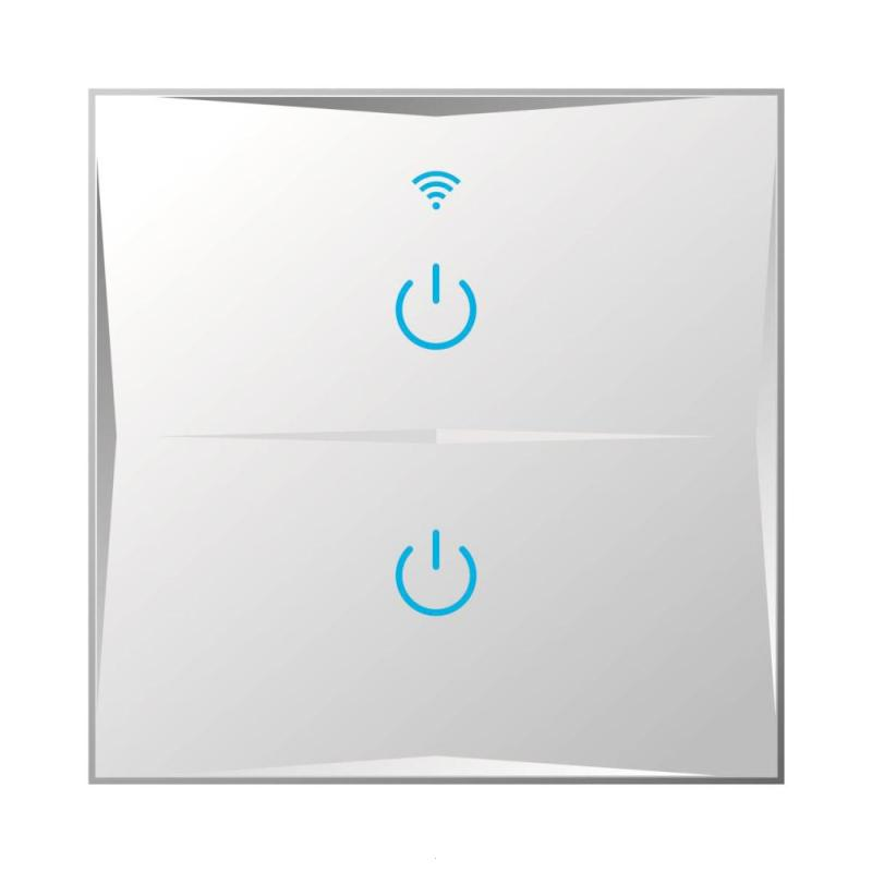 ER/UK 2 Gang WiFi Smart Touch Switch Glass Panel 2 Touch Button APP Amazon Alexa Google Home Remote Control Smart Light Switch jinvoo app us type smart wifi switch 2 gang 1 way touch panel wireless remote wifi light switch works with alexa google home