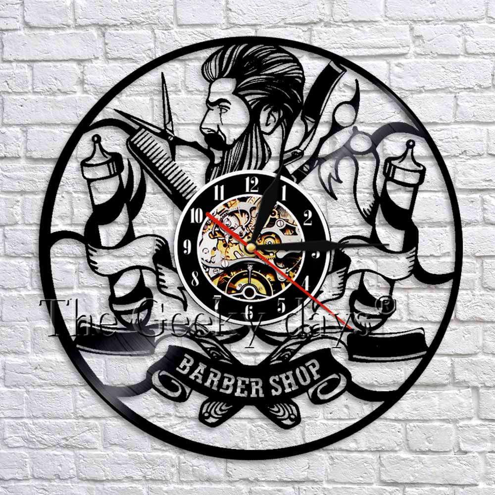 Hairdresser Silhouette Barber Shop Salon Vinyl Record Clock Handmade Wall Art Decor Clock Retro Wall Clocks Wall Watches|wall clocks unique|wall clock|retro wall clock - title=