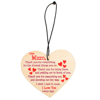 1Pcs Mum I Love You Everyday Wooden Hanging Heart Mothers Day Gift Polished Mums Sign Hanging Decoration Pendant Mothers Gifts image