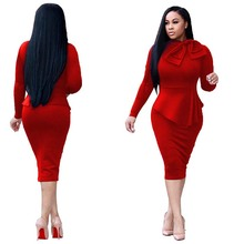 Lady African Clothing Two Pieces Set Pencil Dress Long Sleeve High Waist Sheath Bow Graceful Office Dresses Formal Workwear