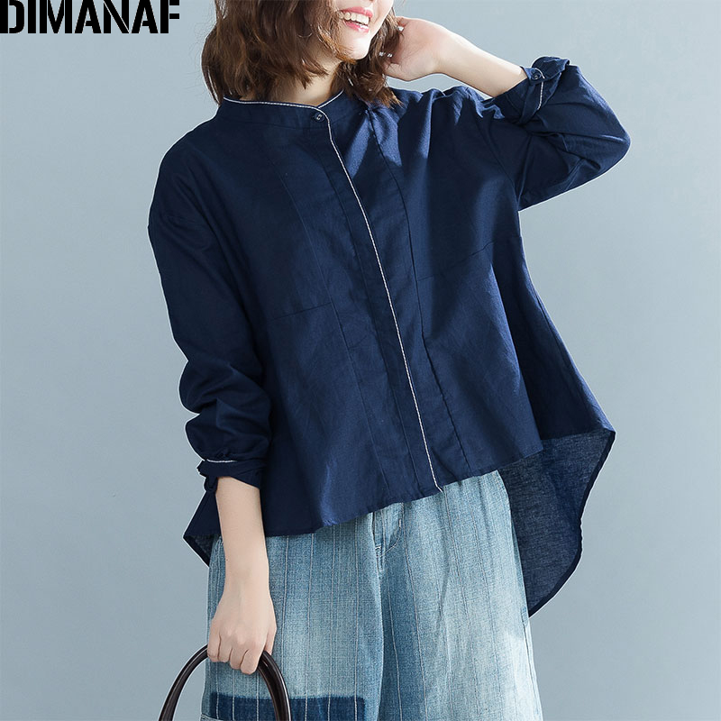 DIMANAF Women   Blouse     Shirt   Long Sleeve Female Clothes Vintage Linen Plus Size Ladies Tops Solid Loose Cardigan Tunic 2018 Autumn
