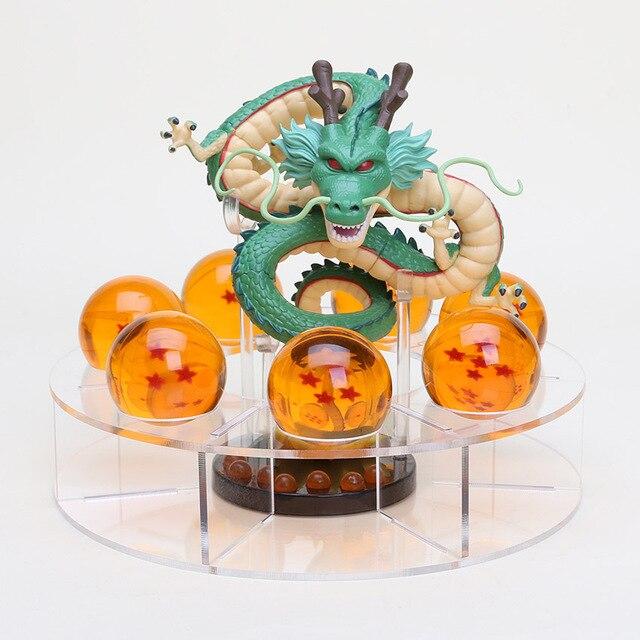 Dragonball Dragon Ball Z shenlong Figues 4 cm 7 estrelas Crystal ball e Prateleira de Exposição de Brinquedos Anime Figuras de Ação Dragão conjunto de brinquedos