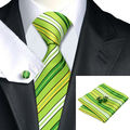 LS-272 Lazo de Los Hombres de la Marca Rayada Verde Tejido Jacquard 100% de Seda Corbatas Tie + Hanky + Gemelos Conjuntos Para La Boda fiesta de Negocios