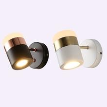 Nordic modern LED wrought iron acrylic Wall Lamps 360 degree rotating creative aisle bedside mirror headlights