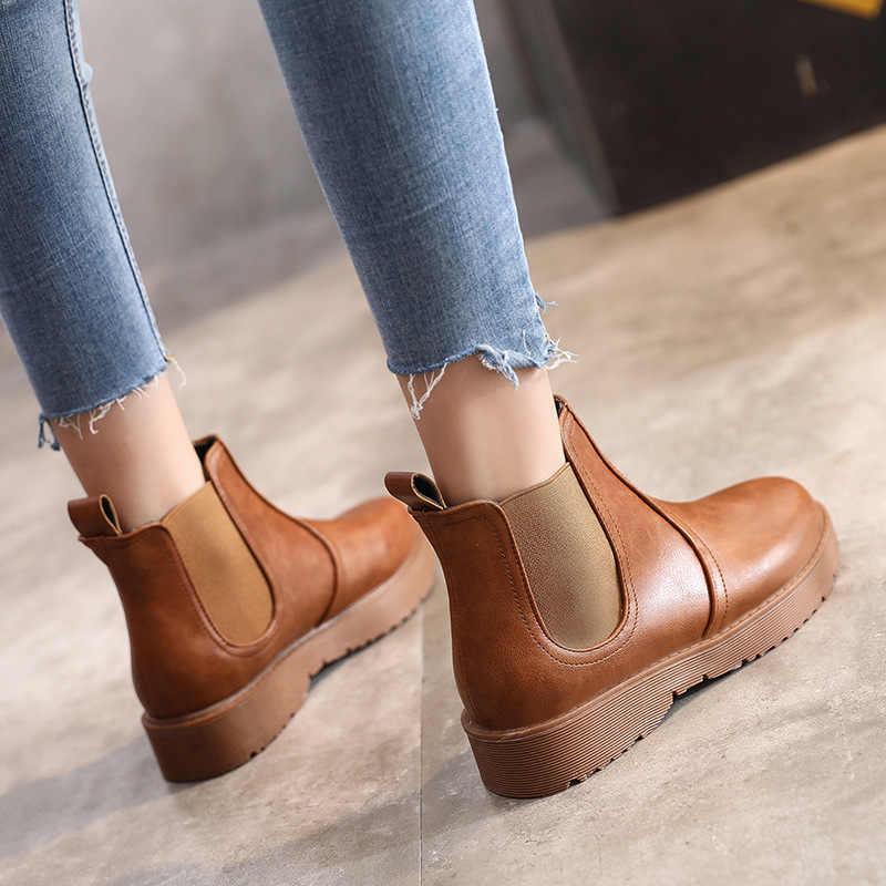 Kadın botları moda vahşi çizmeler kadın yuvarlak kafa düşük topuk kaymaz ayakkabı A18