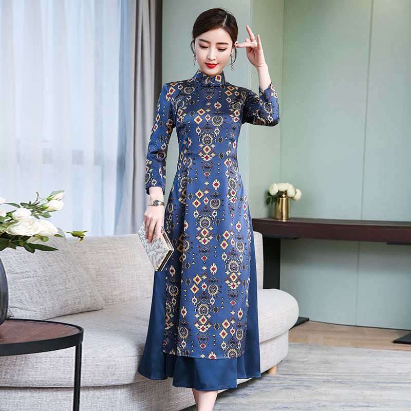 2019 Ao Dai Vietnamese Traditionally Dress Aodai Asian Dress Party Dress Traditional Embroidery Printing Vietnam Clothing