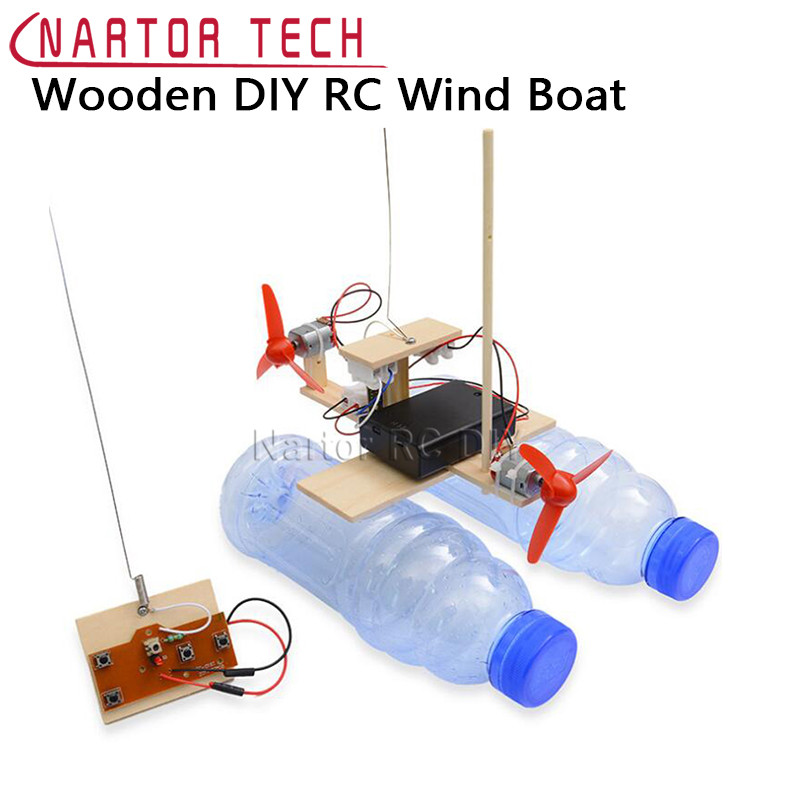 Assembled Wind Turbine Model Boat Wooden Remote Control Boat DIY Science Educational Toys Children's Toy Gift Creative Model