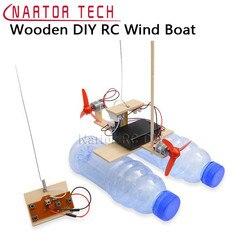 Montado turbina eólica modelo barco de controle remoto de madeira barco diy ciência brinquedos educativos presente do brinquedo das crianças modelo criativo