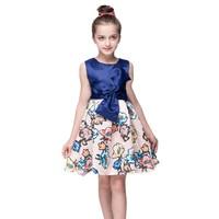 Retail Flower Girls Dresses New Spring Summer 2017 Girls Dress Princess Tutu Stylish Clothing Blue Party
