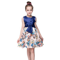 Retail Flower Girls Dresses New Spring Summer 2017 Girls Dress Princess Tutu Stylish Clothing Blue Party