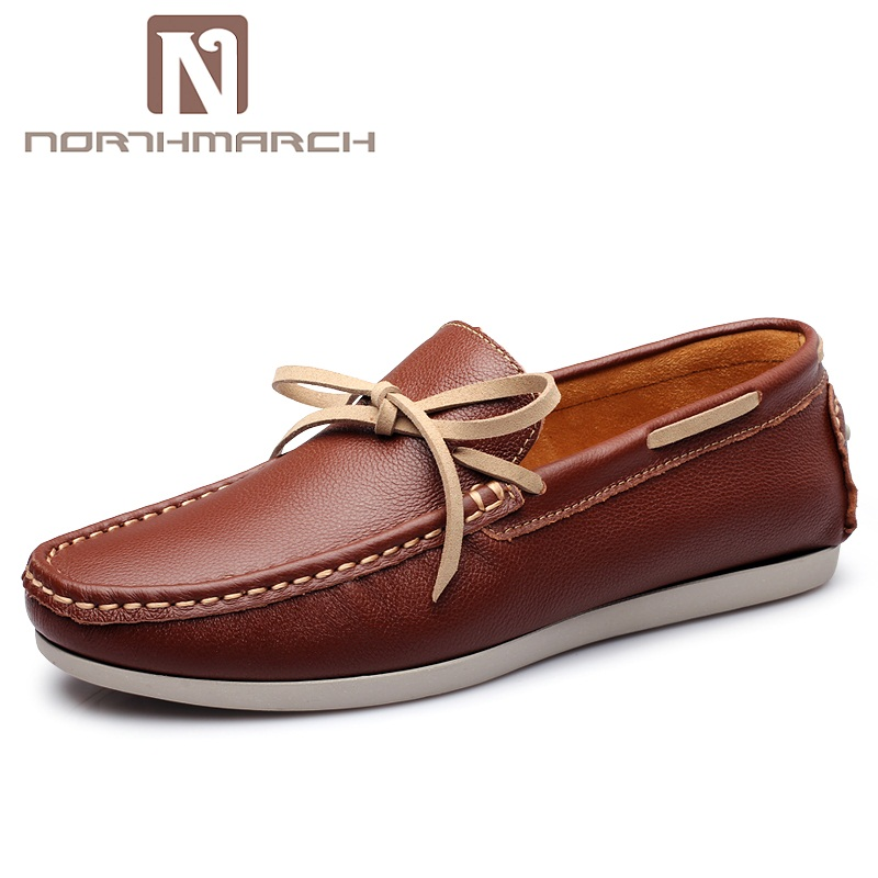 NORTHMARCH Men Casual Flats Fashion Men Shoes Genuine Leather Soft Moccasins Brand Loafers Breathable Men Shoes Calzado Hombre pathfinder men s vulcanize shoes men leather high style casual retro comfortable flat shoes breathable male calzado hombre