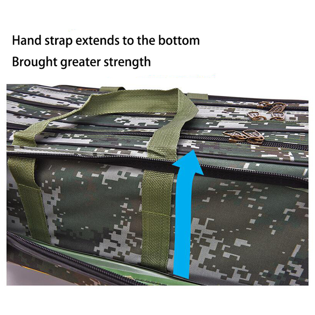 Digital Camouflage Wire Fishing Bag Sea Fishing Bag Large Space3 Layer 80/90cm Fishing Rod Kit Embroidery Fishing Gear Wholesale 4