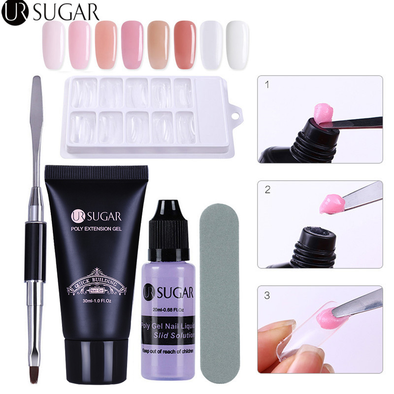 UR SUGAR 5Pcs Poly Gel Set UV Builder Gel Extention Crystal Jelly Polygel Quick Building Liquid Slip Solution Manicure Nail Kit
