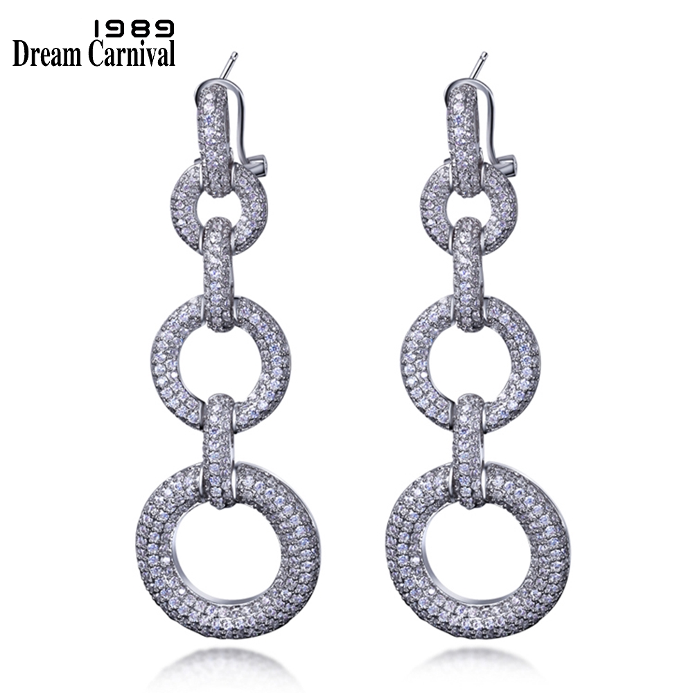 DreamCarnival 1989 Hot Trendy Fine Women Jewelry Zircon Triple Circles Linkage Huge Drop brincos Luxury Long Earrings SE07102