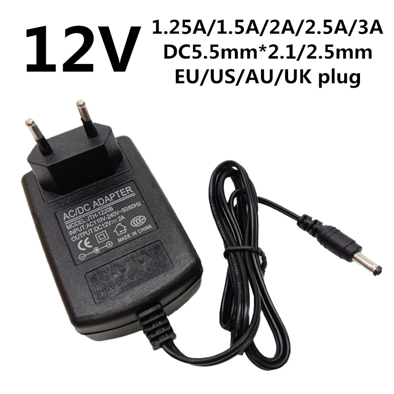 AC 100V-240V Adapter DC 12V 2.5A Switching power supply Charger EU 5.5mm 2500mA