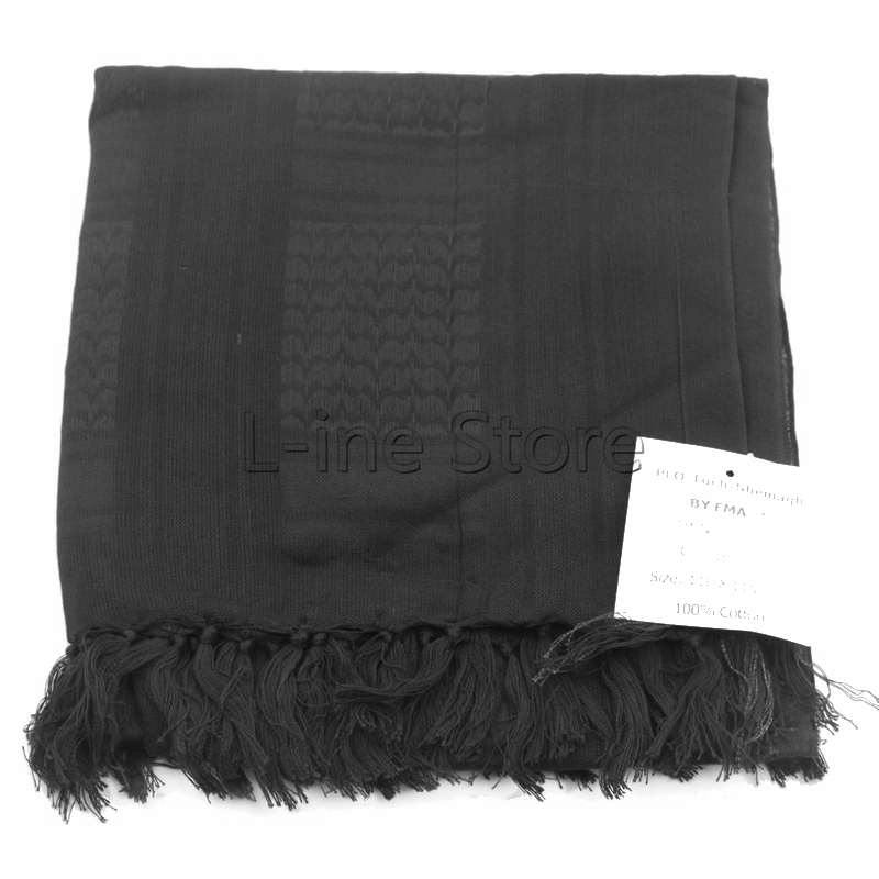 Army Military Tactical Keffiyeh Shemagh Arab Scarf Shawl Neck Cover Head Wrap 100% Cotton Winter Scarves Black
